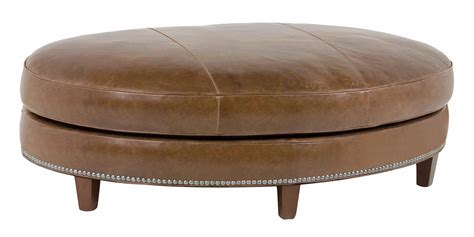 Oval Leather Ottoman With Nail Trim   Club Furniture