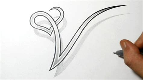 letter w tattoo designs drawing the letter v with a design