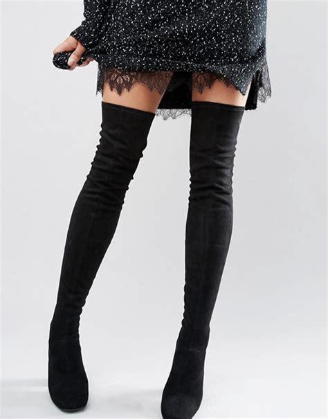 new look new look 60s suedette the knee heeled boot