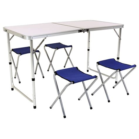 foldable table and chairs folding cing table and four chairs savvysurf co uk