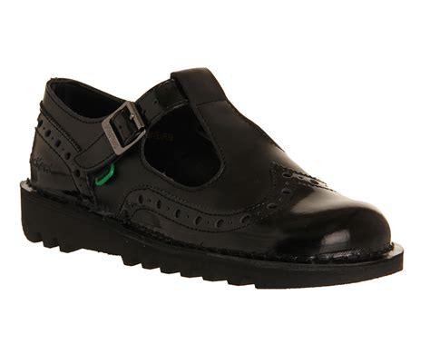 kickers flat shoes womens kickers kick t brogue black patent leather flats