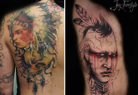 artistic tattoos artist creates impressive freehand tattoos on the