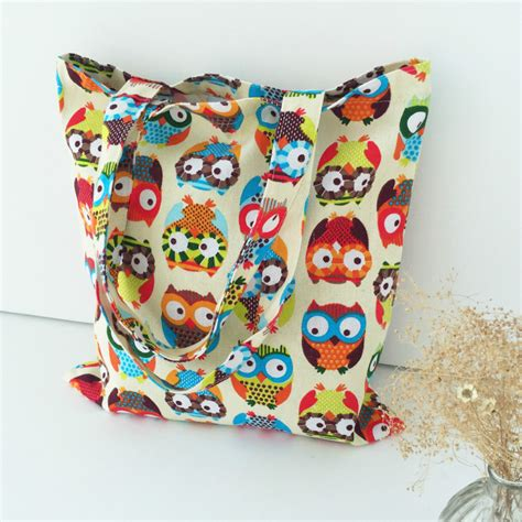 Bag Rumparooz Eco Owl cotton canvas shopping tote shoulder carrying bag eco reusable bag print colorful owls l077 in