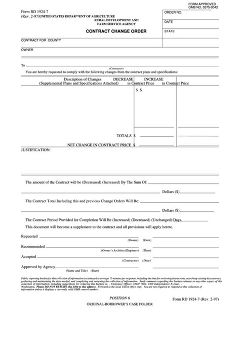 Fillable Form Rd 1924-7 - Contract Change Order printable