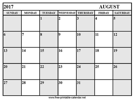 Calendar 2017 August Calendar August 2017 Print Calendars From