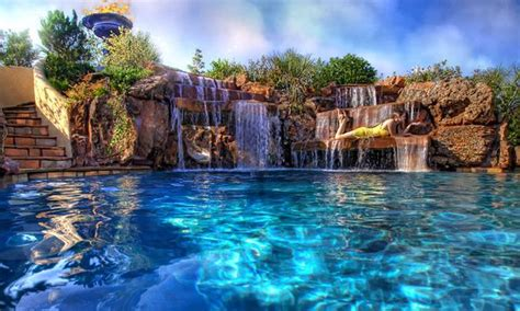 beautiful swimming pools backyard swimming pool with beautiful waterfalls made by