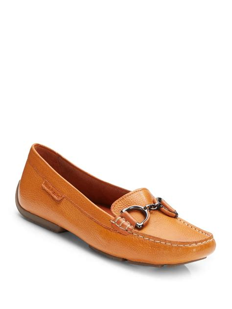 hush puppies loafers hush puppies cora leather loafers in orange lyst