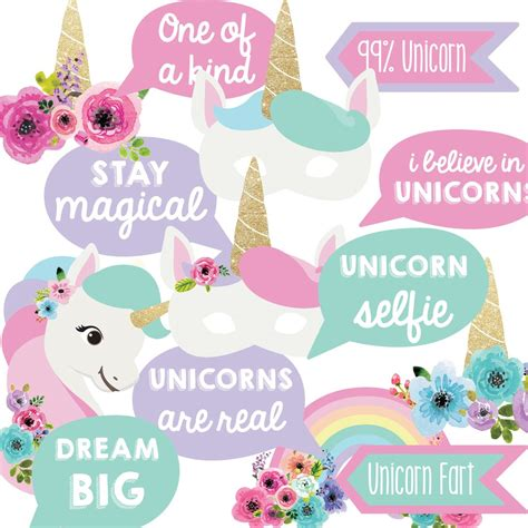 printable unicorn photo booth props unicorn birthday party photo booth props unicorn party