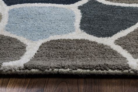 Grey Striped Area Rug Valintino Striped Mosaic Wool Area Rug In Gray Blue Navy 5 X 8