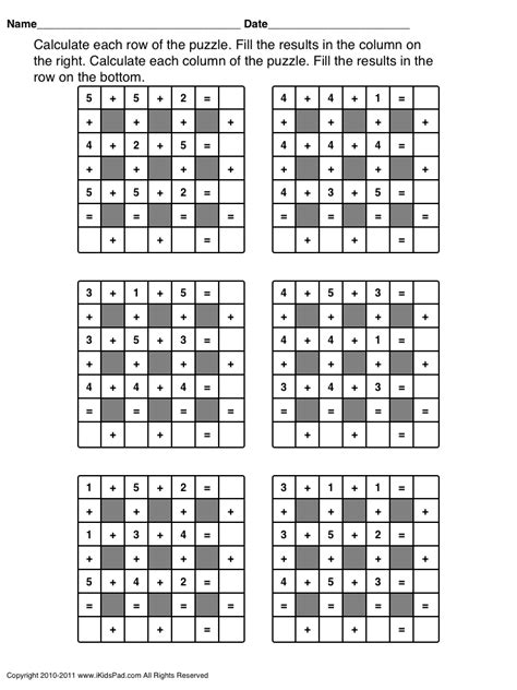 printable algebra puzzle free printable math operations puzzle for kids clasa 0