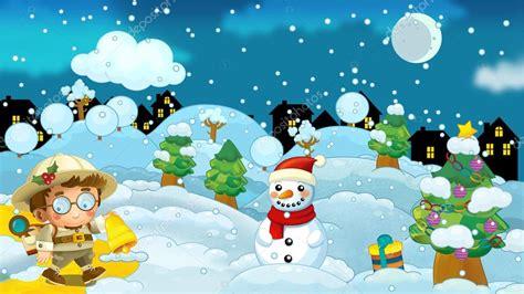 imagenes navidad invierno escena de naturaleza de invierno dibujos animados con una