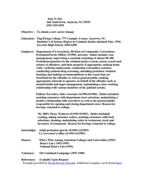 cover letter for probation officer resume exles templates probation officer cover letter