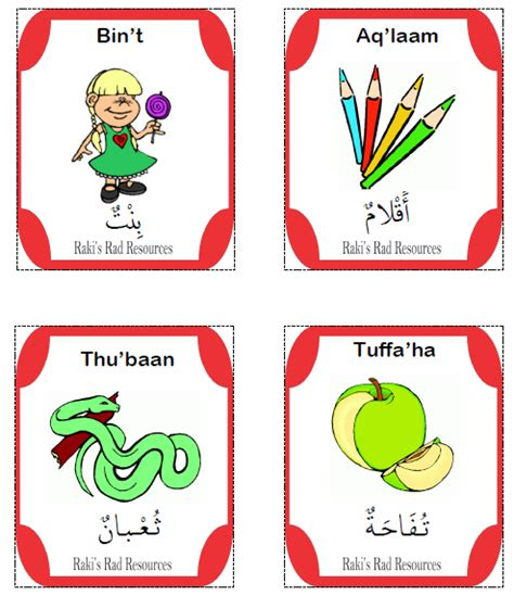arabic alphabet with pictures flashcards printable arabic flash cards with english pronunciation image 2