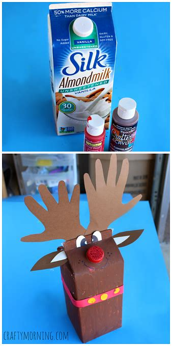 milk carton reindeer christmas craft for kids reindeer