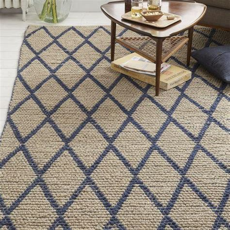 west elm blue rug knotted diamonds wool rug regal blue west elm