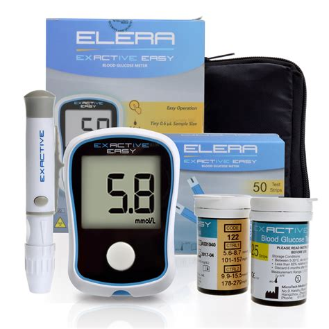 Glucose Meter elera blood glucose meter for diabetes accurate glucometer with 50 test strips 50 lancets