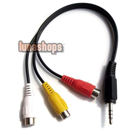 I Rca Connector Sambungan Rca 1p Pole Rca Sambungan 1l 3 00 3 5mm 4 pole to 3 rca a v composite cable adapter ls001258