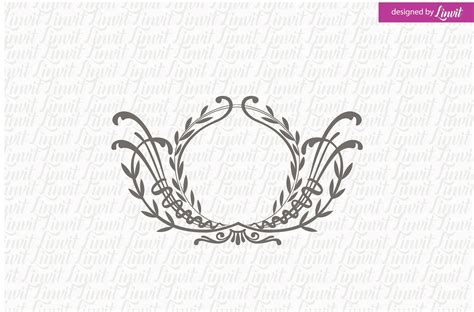 Floral Wedding Monogram Logo Templates Creative Market Wedding Logo Design Template