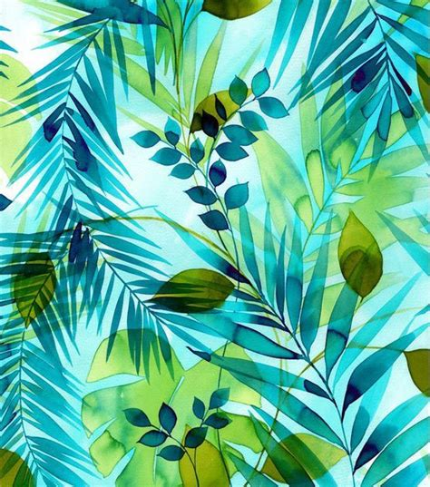 watercolor leaf pattern tropical fabric teal green leaves watercolor rayon i