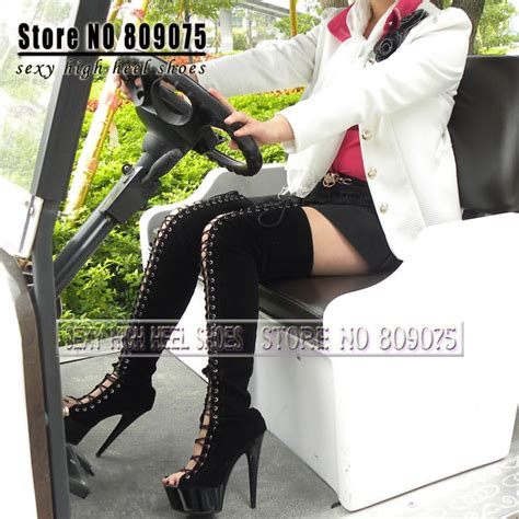 thigh high boots 6 inch heels black 6 inch platform high heel thigh high boots for