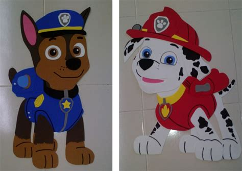 dulceros de paw patrol figuras de fomi personajes paw patrol foami fiesta chase