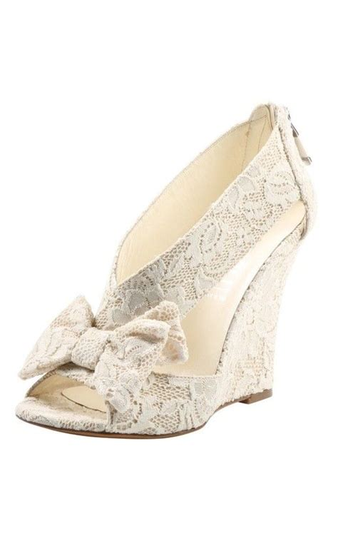 Lace Wedge Wedding Shoes by Bow Lace Wedge Wedding Green And Green Pattern