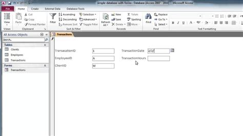 form design access 2007 youtube create a custom form with design view in access custom