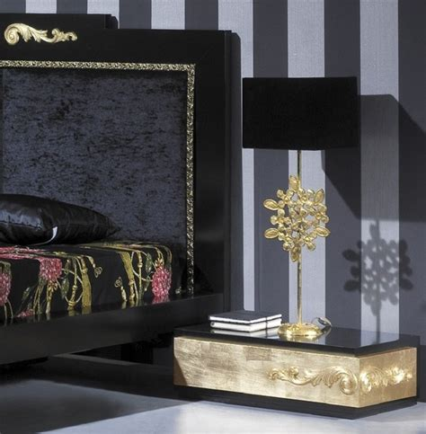 luxus black and gold leaf bedroom set