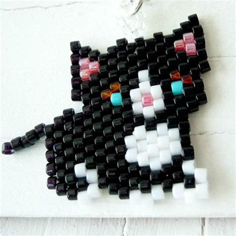 beadwork cat seed bead cat charm by beadcrumbs beaded charms