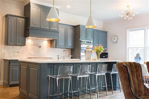 Blue Gray Cabinets Kitchen Grey Kitchen Cabinets With Blue Walls Quicua