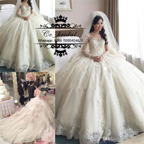 Luxury Princess Ball Gown Lace Wedding Dresses With Cathedral Train 2016 Long Sleeves Brisal