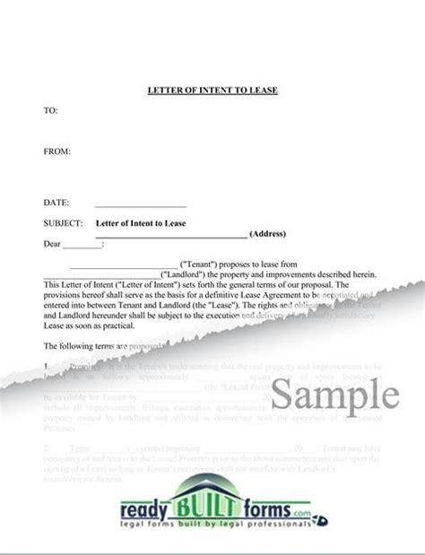 Sle Letter Of Intent To Lease Residential Letter Of Intent To Lease Commercial Property Now