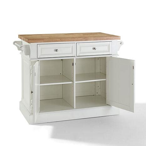 White Kitchen Island With Butcher Block Top Crosley Butcher Block Top Kitchen Island White 7743723 Hsn