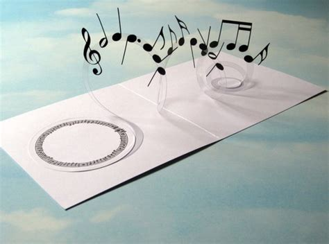 3d wedding card template card spiral pop up musical notes 3d card handmade