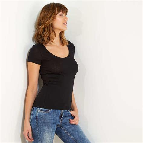 camiseta manga corta camiseta de manga corta mujer negro kiabi 3 00