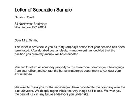 Divorce Letter To Bank Letter Of Separation