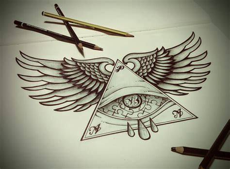 tattoo eye with wings tattoo wings eye blackandwhite triangle drawing art