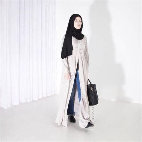 Inayah Maxi inayah oyster open front abaya black maxi jersey