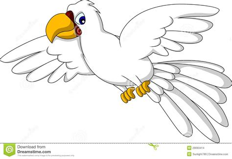 cartoon white cute white parrot cartoon flying stock illustration