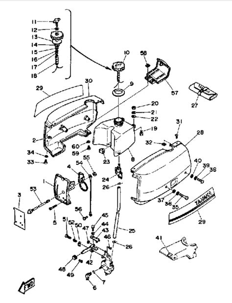 yamaha outboard motor parts diagram 1988 yamaha cowling fuel parts for 2 hp 2sg outboard motor