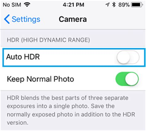 how to get back missing hdr button on iphone photos app