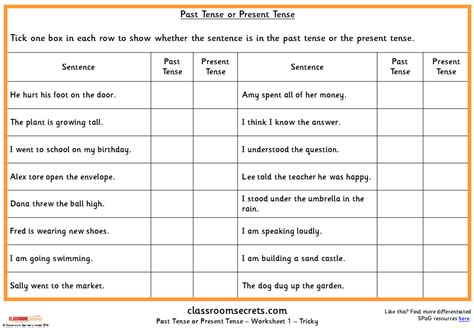 past tense or present tense ks1 spag test practice