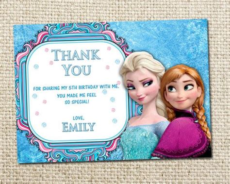 Frozen Thank You Card Template by Frozen Printable Thank You Free Invitations Ideas