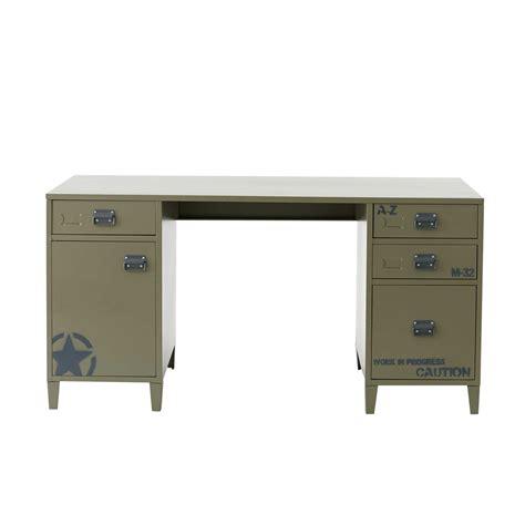 khaki green metal desk l 150 cm douglas maisons du monde