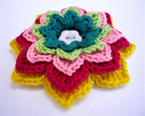 free pattern for crochet flowers stitch of love patterns crochet flower brooches
