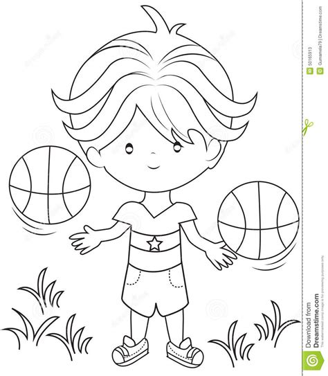 coloring page of boy playing basketball boy playing basketball coloring page stock illustration