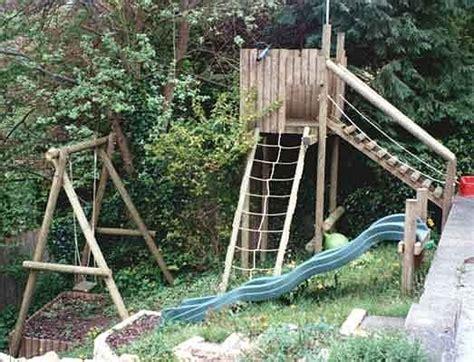 wooden swing set with bridge wooden play equipment swings forts scramble nets