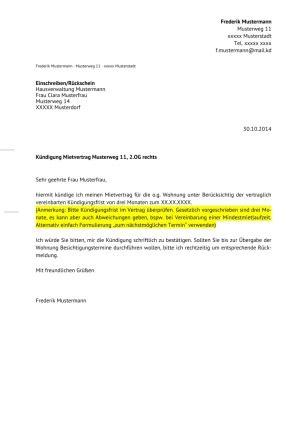 Kündigung Eigenbedarf Vorlage Schweiz Preview