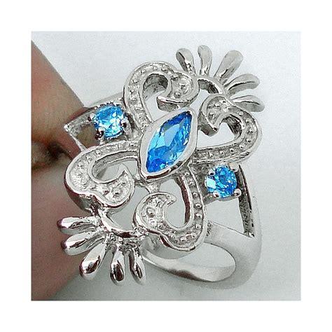 Cincin Wanita Blue Topas Bertahta Berlian cincin silver 925 blue topaz ukuran ring 7 usa
