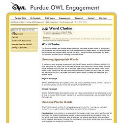 sentence patterns purdue owl word choice grammar and style pearltrees